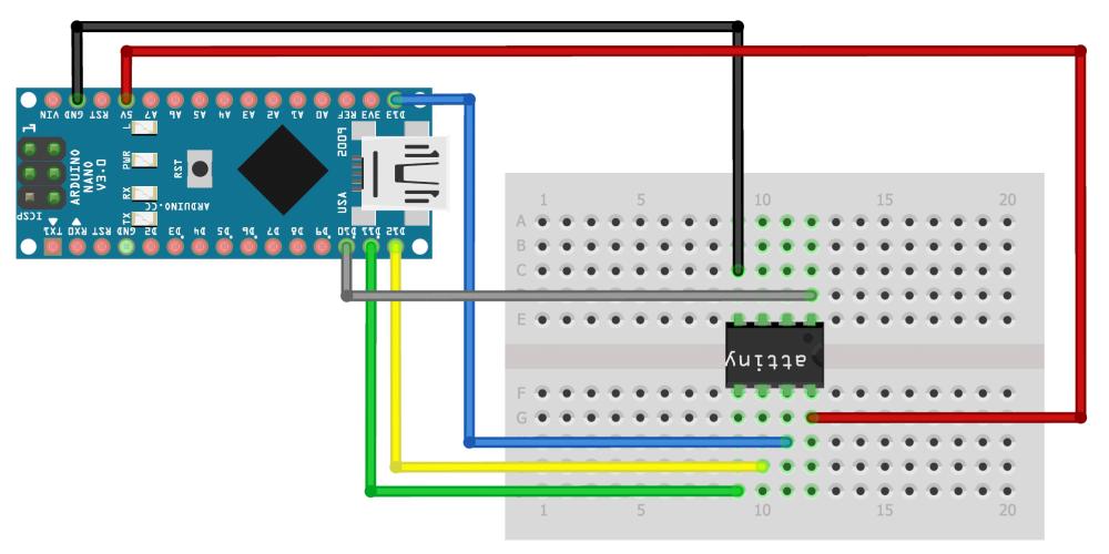 Схема подключения ATtiny к Arduino Nano
